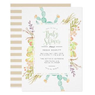 Succulent Bouquet Watercolor   Baby Shower Invite