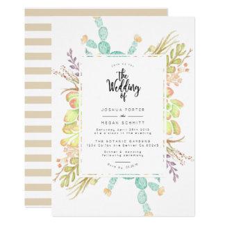 Succulent Bouquet Watercolor   Wedding Invite