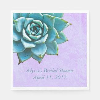Succulent Bridal Shower Watercolor Lavender Lace Disposable Napkin