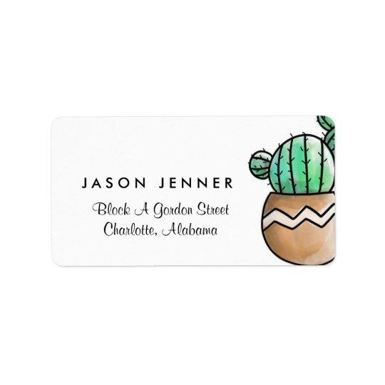 Succulent Cactus Rustic Minimal Wedding Address Label