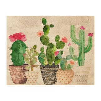 Succulent Cactus Wood Wall Art