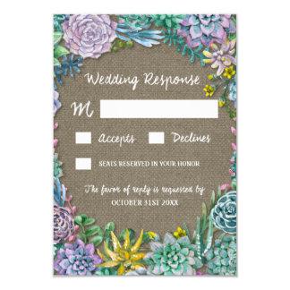 Succulent Country Rustic Burlap Wedding RSVP Cards