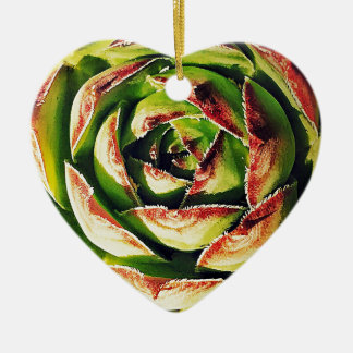 Succulent Dble-sided Heart Ornanent Christmas Ornament