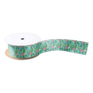 Succulent floral pattern party ribbon satin ribbon