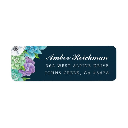 Succulent Florals Return Address Labels | Navy