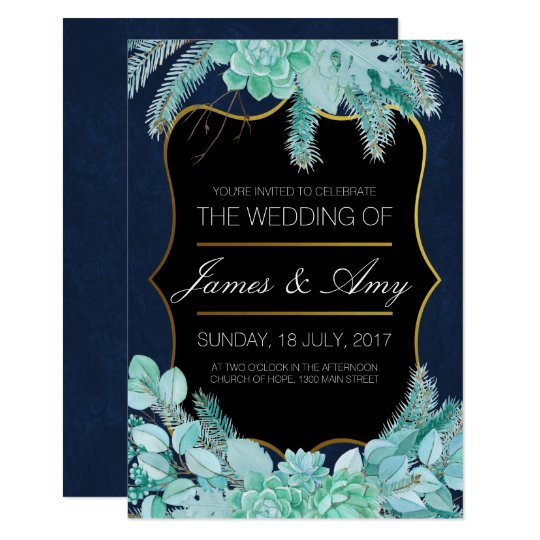 Succulent Flower - Green Blue - Wedding Invitation