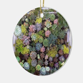 Succulent garden design christmas ornament