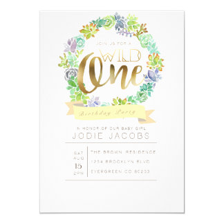 Succulent Garden | Watercolor First Birthday 13 Cm X 18 Cm Invitation Card