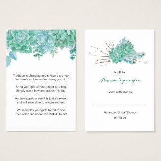 Succulent No Wrap Bridal Shower request tag 3961