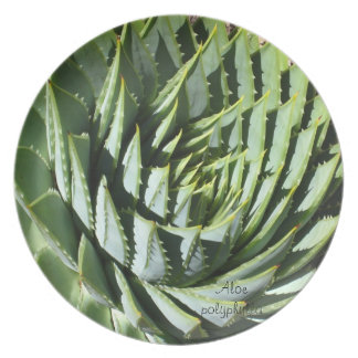 Succulent plant dinner plate: Aloe polyphylla Party Plates