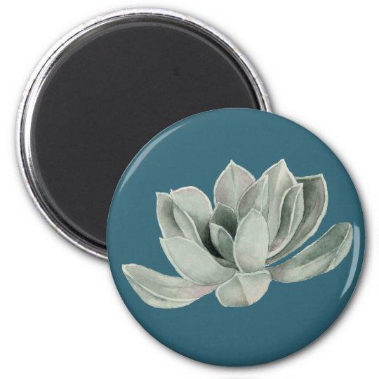 Succulent Plant Watercolor Painting 6 Cm Round Magnet