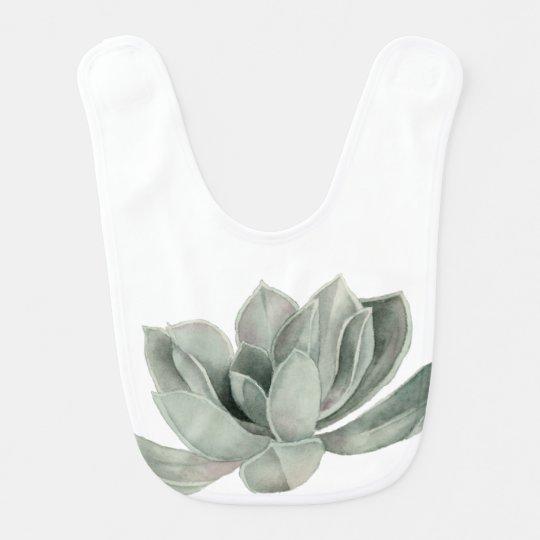 Succulent Plant Watercolor Painting Bib