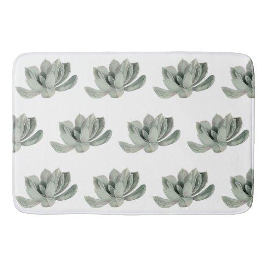 Succulent Plant Watercolor Painting Pattern Bath Mat