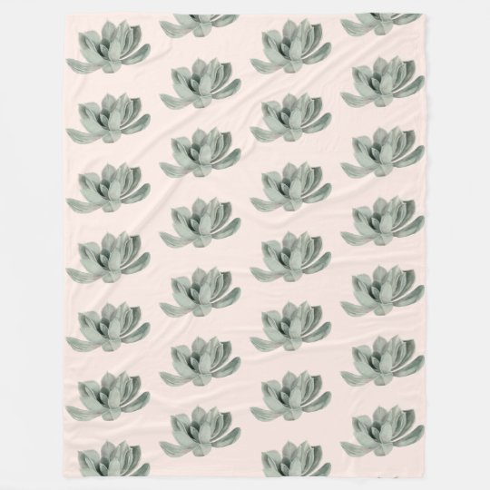 Succulent Plant Watercolor Painting Pattern Fleece Blanket