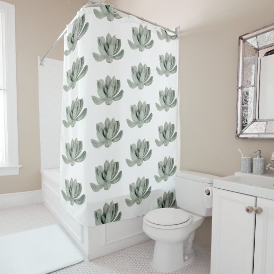 Succulent Plant Watercolor Painting Pattern Shower Curtain