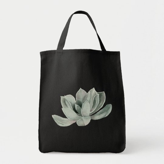 Succulent Plant Watercolor Painting Tote Bag