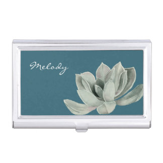 Succulent Plant Watercolor Painting with Name Business Card Holder