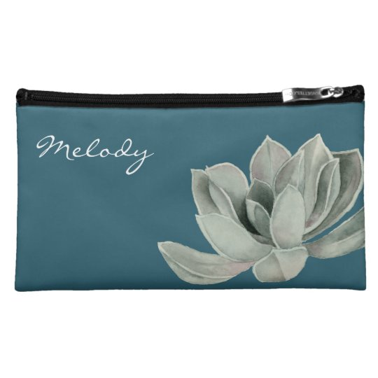 Succulent Plant Watercolor Painting with Name Cosmetic Bag