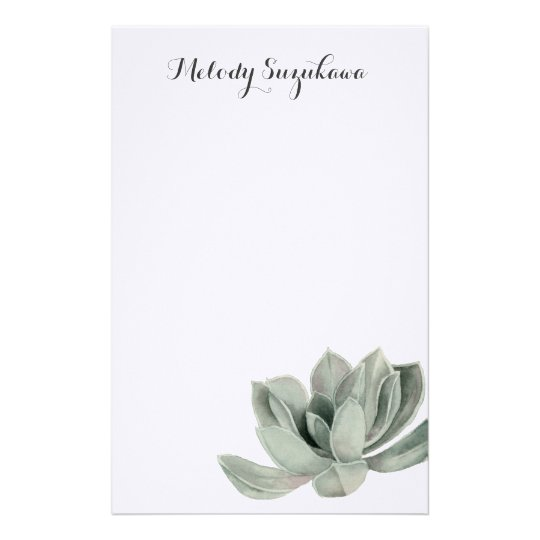 Succulent Plant Watercolor Painting with Name Customized Stationery
