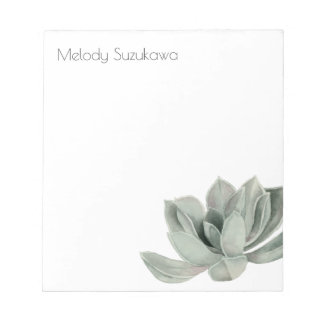 Succulent Plant Watercolor Painting with Name Notepad