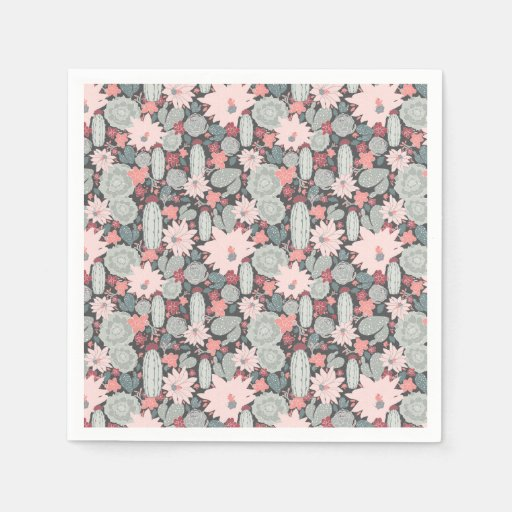 Succulent Plants And Cactus In Pink Mint Pattern Disposable Napkin