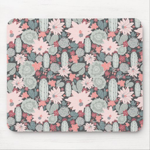 Succulent Plants And Cactus In Pink Mint Pattern Mouse Mat