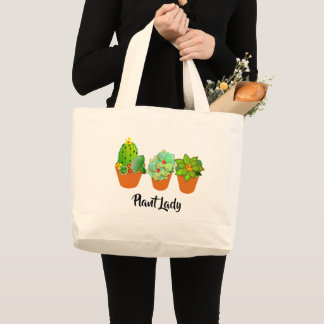 Succulent Plants Cute Cactus Plant Lady Fun Large Tote Bag