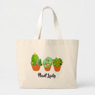 Succulent Plants Cute Cactus Plant Lady Fun Large Tote Bag