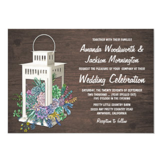 Succulent Rustic Wood Lantern Wedding Invitations