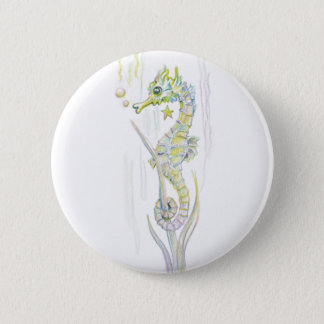Succulent Seahorse 6 Cm Round Badge