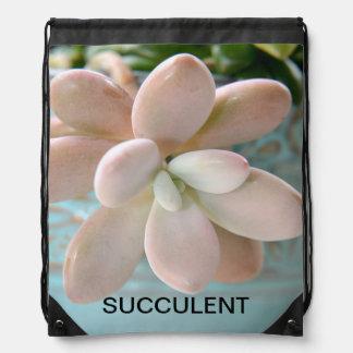 Succulent Sedum Pink Jelly Bean Plant Drawstring Bag