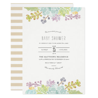 Succulent Spring Garden | Watercolor Baby Shower Card