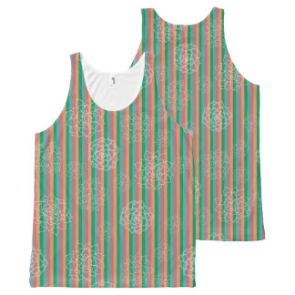 Succulent Stripes All-Over Print Tank Top