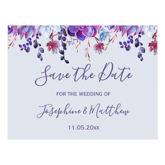 Succulent Ultra Violet Save the Date Postcard