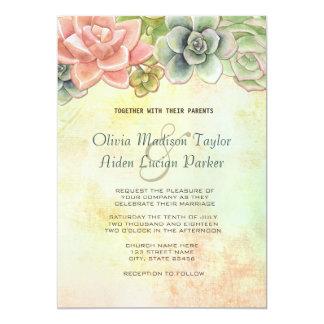 Succulent Watercolor Floral Wedding - option 2 13 Cm X 18 Cm Invitation Card