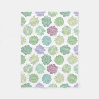 Succulent Watercolor Garden Pattern Fleece Blanket