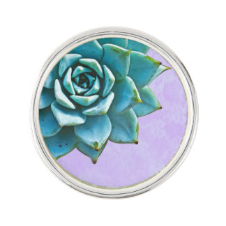 Succulent Watercolor Lavender Lace Lapel Pin