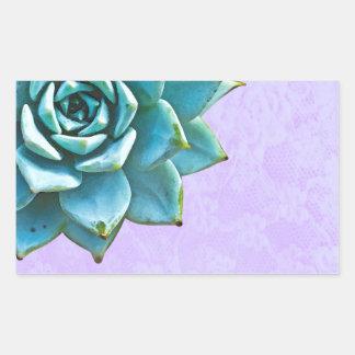 Succulent Watercolor Lavender Lace Rectangular Sticker