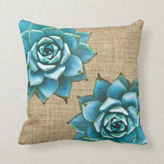 Succulent Watercolor on Tan Burlap Cushion