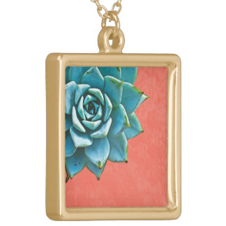 Succulent Watercolor Orange Lace Gold Plated Necklace