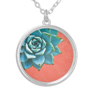 Succulent Watercolor Orange Lace Silver Plated Necklace