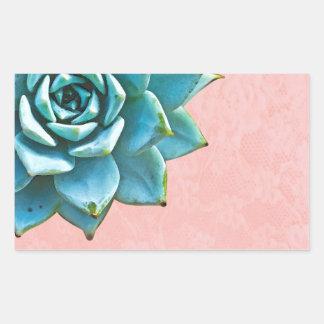Succulent Watercolor Pink Lace Rectangular Sticker