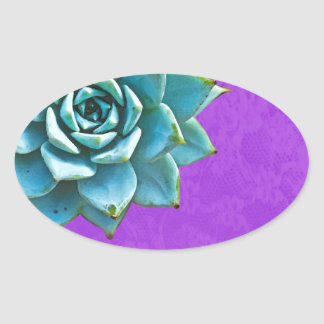 Succulent Watercolor Purple Lace Oval Sticker