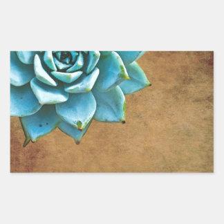 Succulent Watercolor Rustic Brown Rectangular Sticker