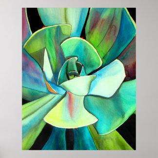Succulent watercolour painting botanical plant art poster