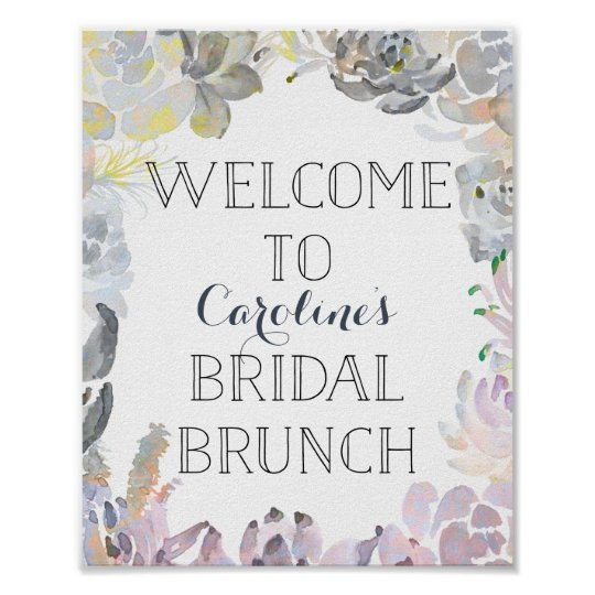 Succulent Welcome Bridal Brunch Sign