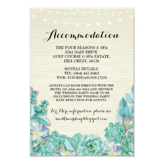 Succulents Accommodation Mint Wedding Cards