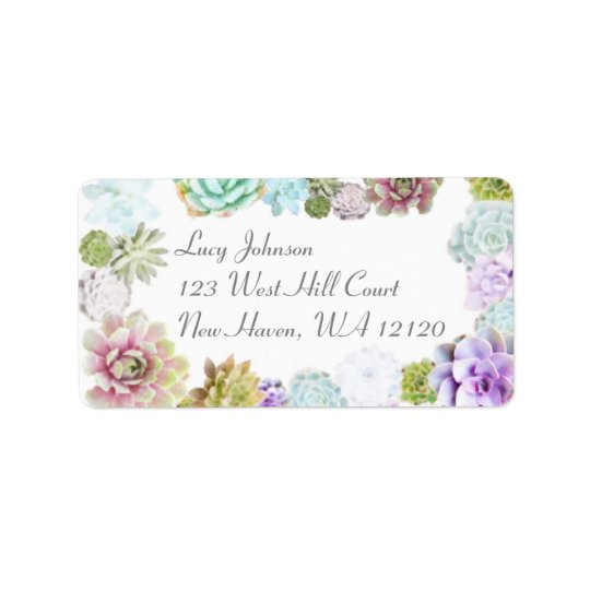succulents address labels