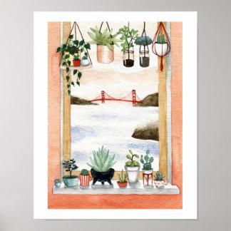 Succulents and Golden Gate Bridge Poster
