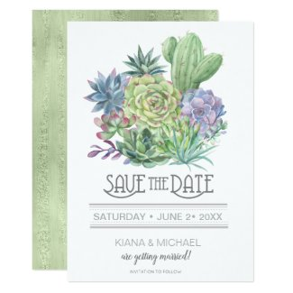 Succulents and Sparkle Save the Date Green ID515 Invitation